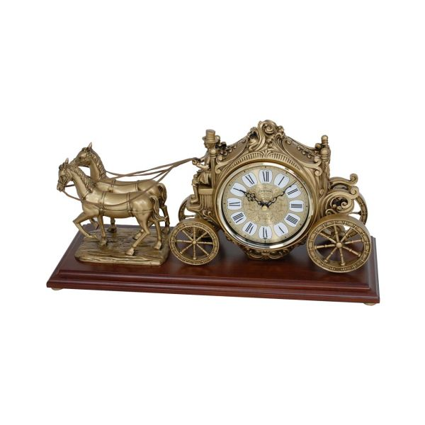 Carriage clock with wooden base