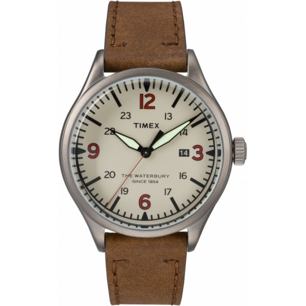Waterbury Traditional 40mm Leather Strap Watch