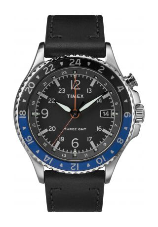 Allied Three GMT 43mm Leather Strap Watch