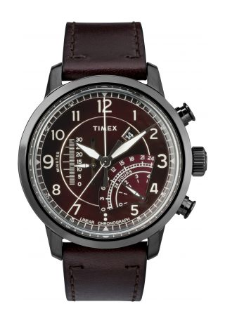 Waterbury Linear Chronograph 45mm Leather Strap Watch
