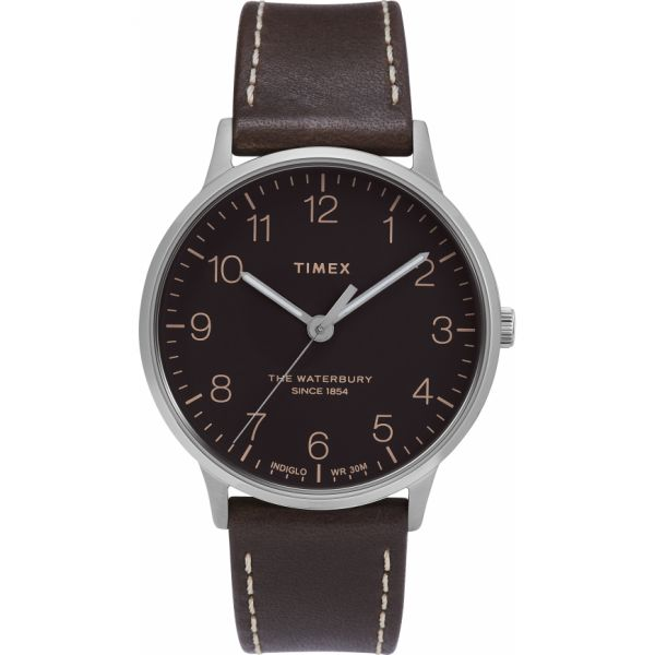 Waterbury Classic 40mm Leather Strap Watch