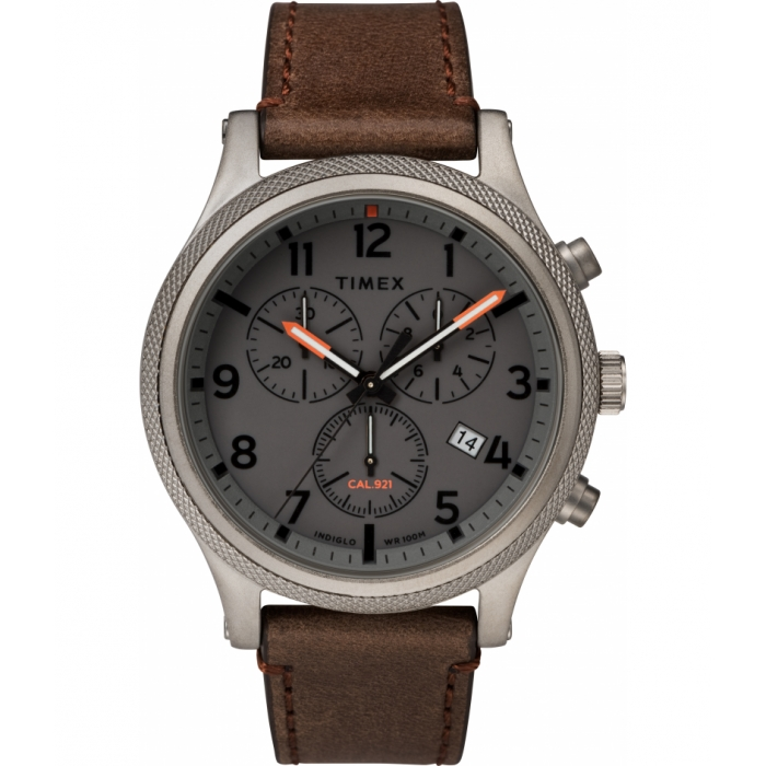 Allied LT Chronograph 42mm Leather Strap Watch