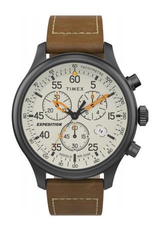 Expedition Field Chronograph 43mm Leather Strap Watch