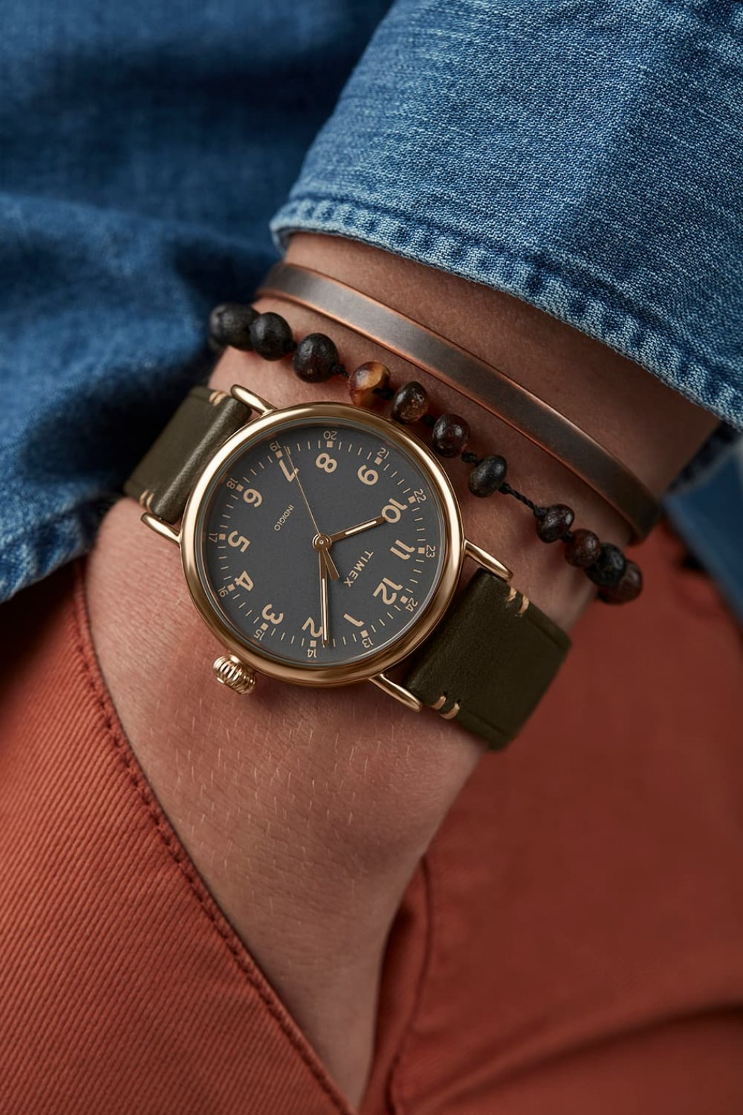 Timex® Standard 41mm Leather Strap Watch