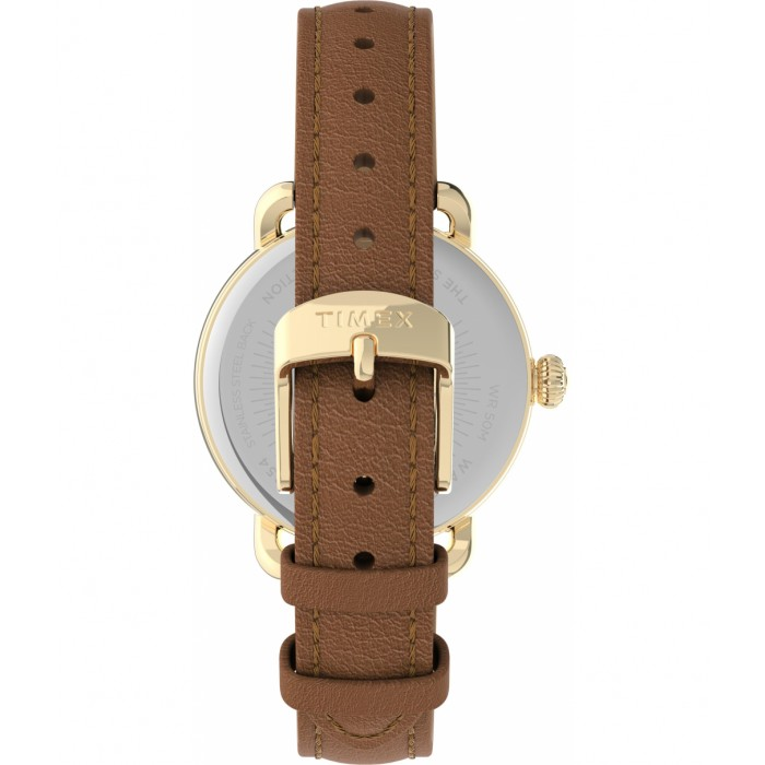 Timex® Standard 34mm Leather Strap Watch