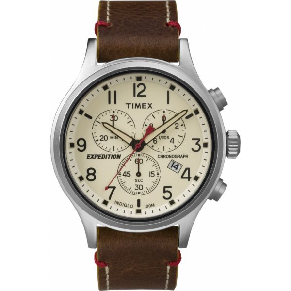 Expedition Scout Chronograph 42mm Leather Strap Watch