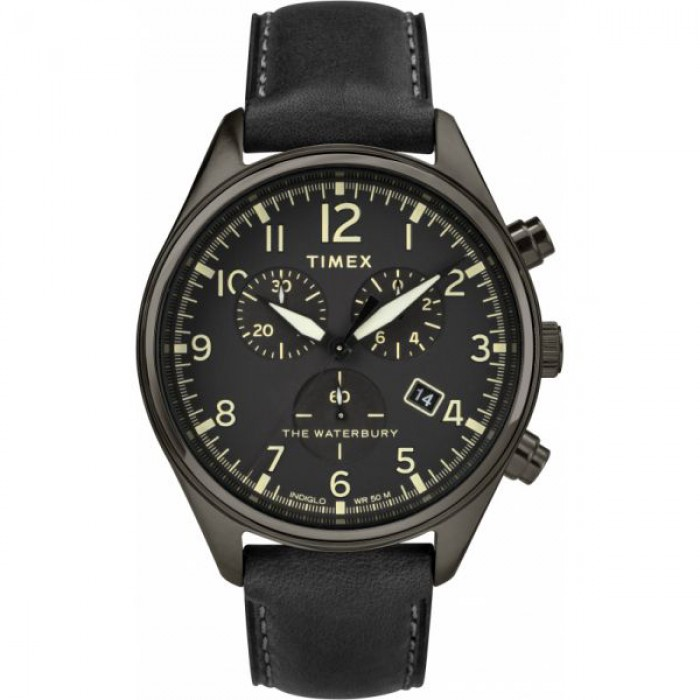 Waterbury Traditional Chronograph 42mm Leather Strap Watch